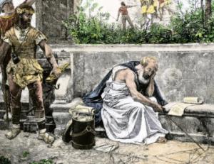 """Ο Αρχιμήδης τη στιγμή που ο στρατιώτης ετοιμάζεται να τον σκοτώσει και εκείνος του απαντάει με τη φράση : """"Μη μου τους κύκλους τάραττε ..."""""""