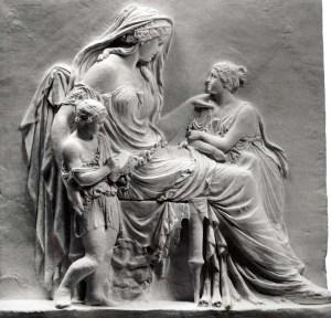 Γιαννούλη Χαλεπά: Φιλοστοργία (Ίδρυμα Τηνιακού Πολιτισμού), γύψος, (1875) 1,03 x 1,16 x 0,24 www.eikastikon.gr/glyptiki/halepas.html