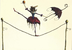 Lady_on_tightrope_with_ball_by_LordColinOneal